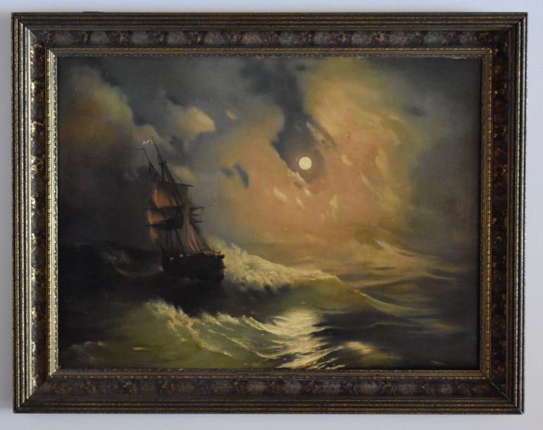 Attributed to: Ivan Konstantinovitch Aivazovsky Moonlight in a Stormy Sea  Oil on…