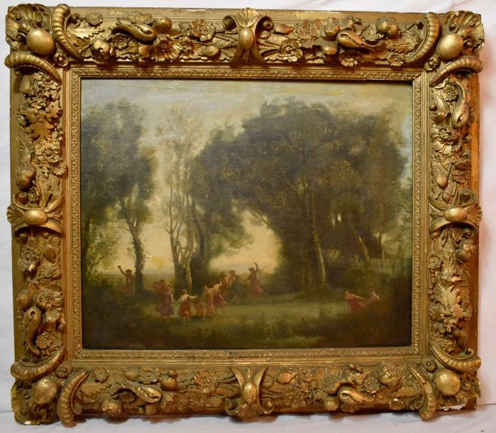 Attributed to: Jean Baptiste Camille Corot (1795-1875) The dance of the Nymphs  Oil…