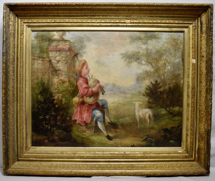 Pastoral scene, 18th century. In a manner of F. Boucher Oil on canvas. Lined. Unsigned…