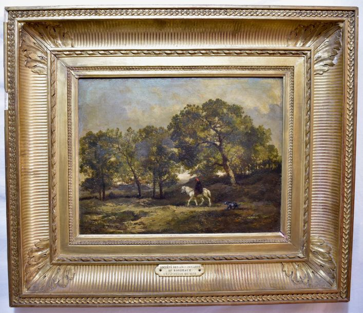 Charles-Émile Jacque (1813 – 1894) Oil on panel, signed  Size: 12 ¼ x 16 in. (31.2…