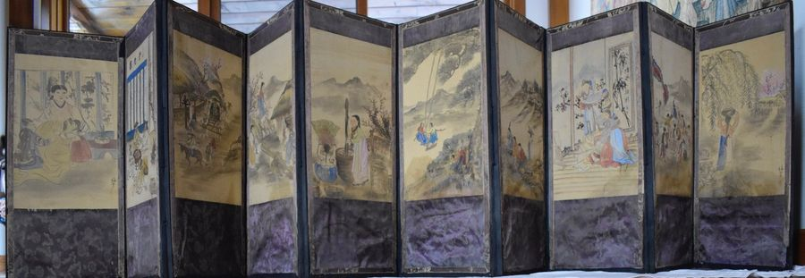 Attributed to Jang Seung Owon (1843 – 1887), (Joseon- Choson Dynasty) Ten Fold Screens…