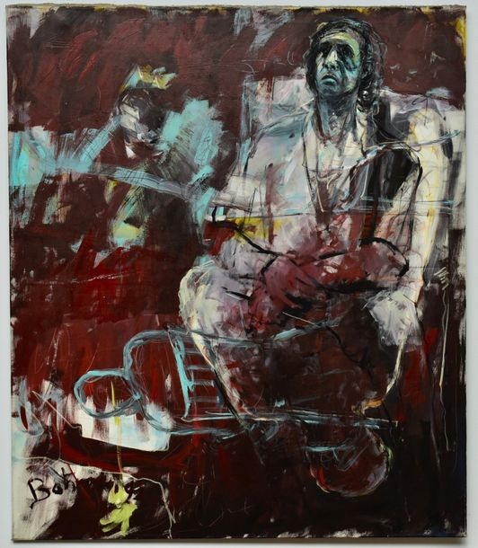 Bahram Hajou, German (1952) Self Portrait  Mixed Media on canvas. Signed and dated…