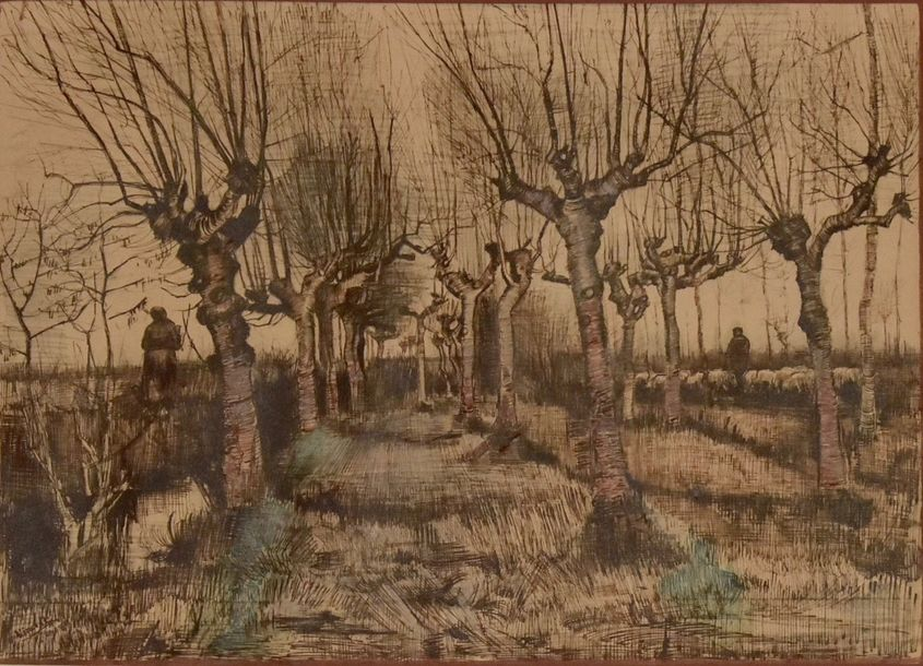 Attributed to Vincent van gogh -Print on paper Willow grove and shepherd Watercolor,…