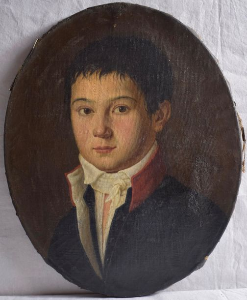 18th century French School Portrait of a boy  Oil on canvas. Oval  Size: 16 x 13…