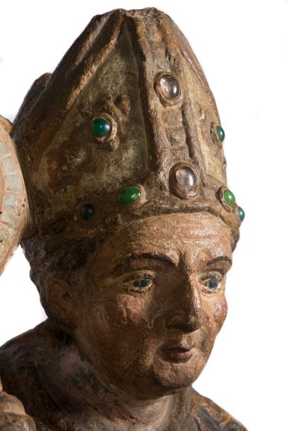 """Bishop"". Imposing sculpted and polychromed stone figure with precious stones. Possibly…"