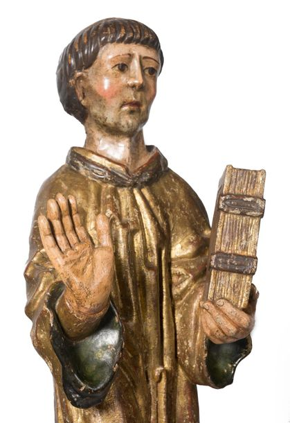 """Saint Lawrence"" Carved, gilded and polychromed wooden sculpture. Gothic. Late 15th…"