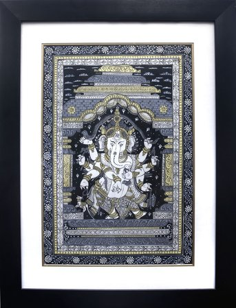 Lord Ganesha Dancing and Stretching a Snake Over His Head (Framed) Lord Ganesha is…