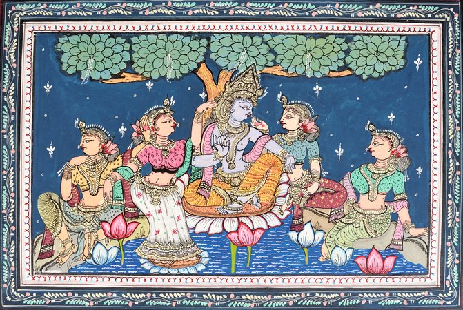 Krishna with Gopis in Lotus Pond Specifications:  Paata Painting on Patti  Folk Art…