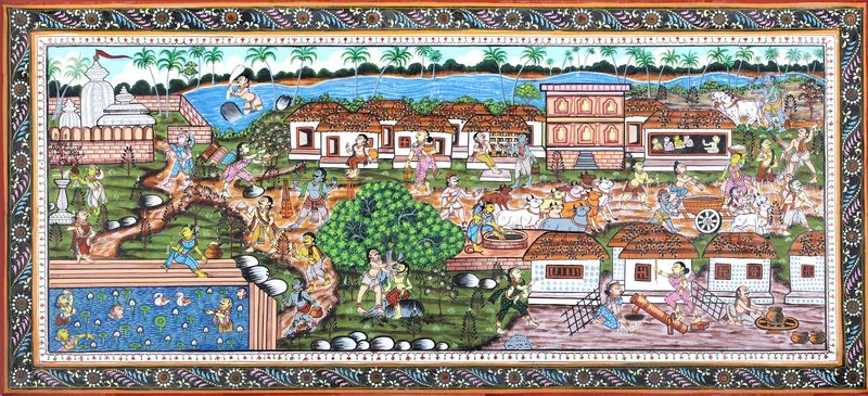 A Village Scene Specifications:  Paata Painting on Tussar Silk Fabric  Folk Art from…