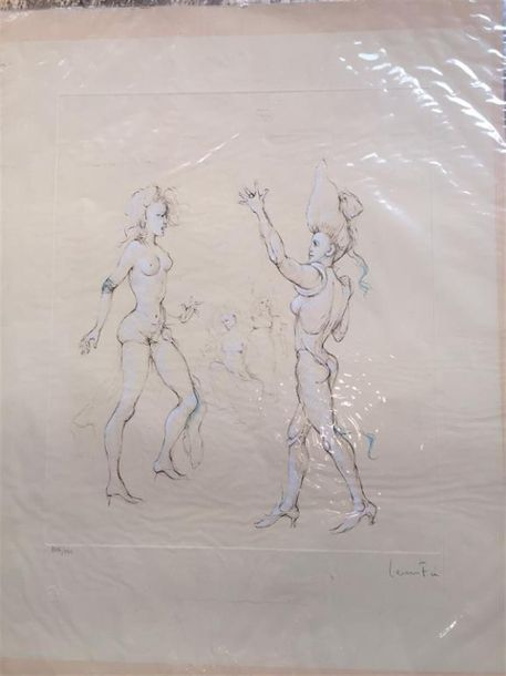 Léonor FINI (1907-1996) Le ballet ; Courtisane et sultan. Deux lithographies en…