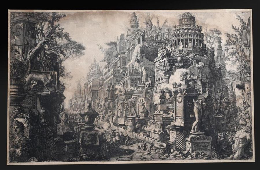 PIRANESI (Giovanni Battista). CHIMÈRE FÉÉRIQUE. Carrefour de deux voies romaines…