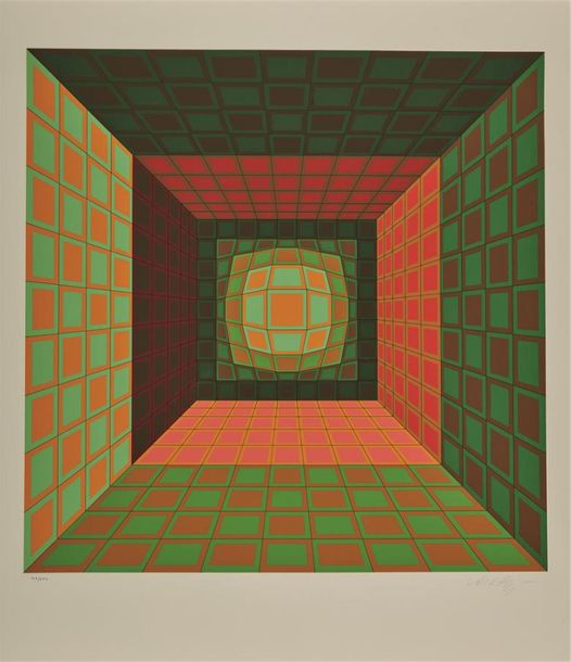 Victor Vasarely (1908 1997) Composition cinétique (rouge, orange, vert). Sérigra…