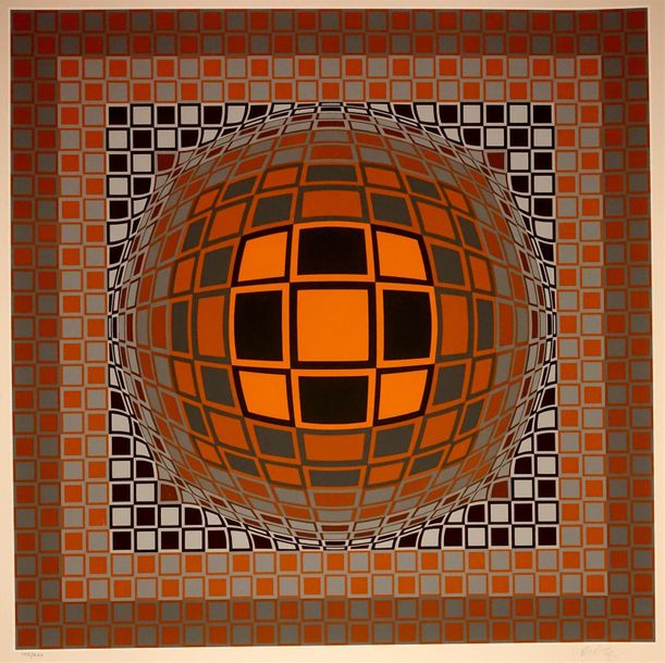 Victor Vasarely (1908 1997) Composition cinétique (orange, ocre, noir, gris). Sé…