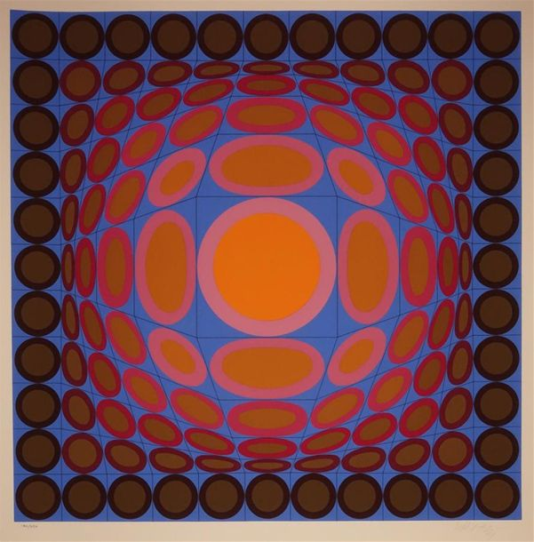 Victor Vasarely (1908 1997) Composition cinétique (rouge, orange, bleu, brun). S…