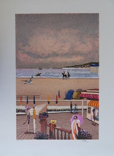 Ramon Dilley Ramon DILLEY (1932-)    Les planches de Deauville    - Lithographie…