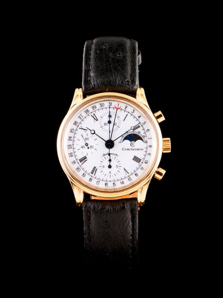 Chronoswiss Lunar A Chronoswiss Alfred Rochat Lunar watch with plated 38mm case.…