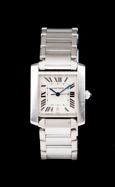 Cartier Tank Française model. Mechanic automatic movement with date at 6. Steel case…