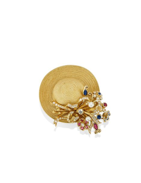 BROCHE EN OR, SAPHIRS, RUBIS, PERLES DE CULTURE ET DIAMANTS, SIGNÉE MISSIAGLIA dessin…