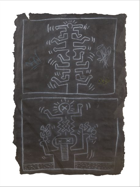 KEITH HARING (1958-1990) Subway drawing Dessin à la craie sur papier noir. Chalk…