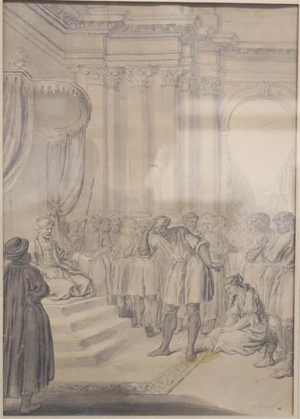 GRAVELOT Hubert (Attribué à) Paris 1699 - 1773 Illustration pour un conte orientale…