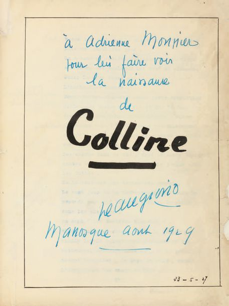 GIONO (Jean) COLLINE. COPIE CARBONE COMPLÈTE de 151 pages in-4 (270 x 208 mm), portant…