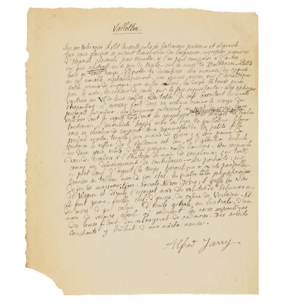 JARRY (Alfred) VALLOTTON. MANUSCRIT AUTOGRAPHE SIGNÉ, [1894 ?], 1 page in-4 (157…