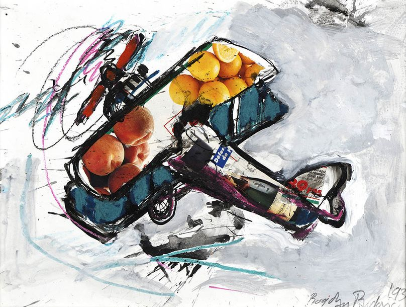 Ecole moderne Composition à l'avion et aux fruits, 1993. Gouache et collage, signé…