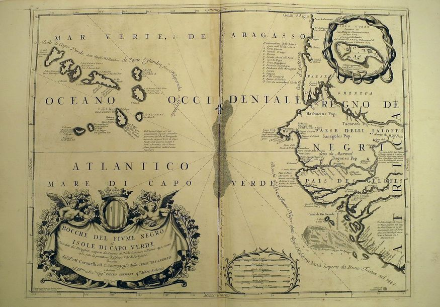 CORONELLI, Vincenzo Maria A pair of maps. [Venice s.N. 1690] Copper engravings, …