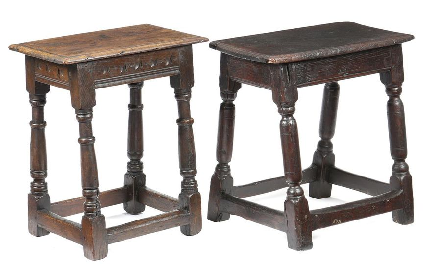 Two 17th century oak joint stools, one with stylised butterfly wing decoration to…