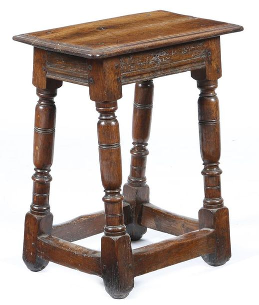 A mid-17th century oak joint stool, the rectangular top with a triple moulded edge,…