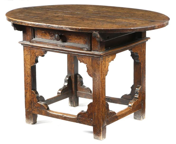 A 17th century Italian Tuscan walnut rent table, the detachable oval top above a…