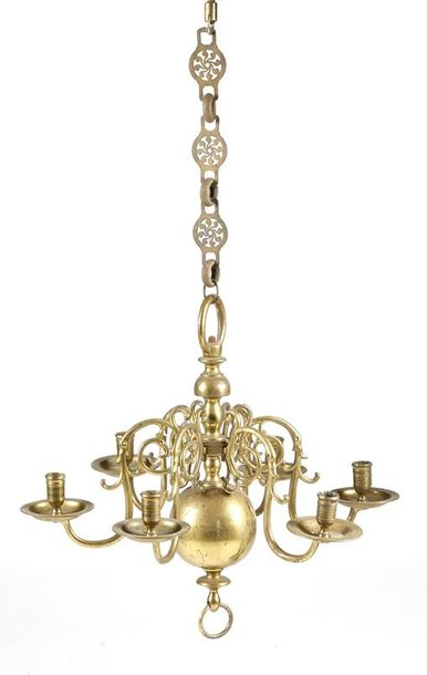 An 18th century style Dutch brass six-light chandelier, the ring top above a turned…