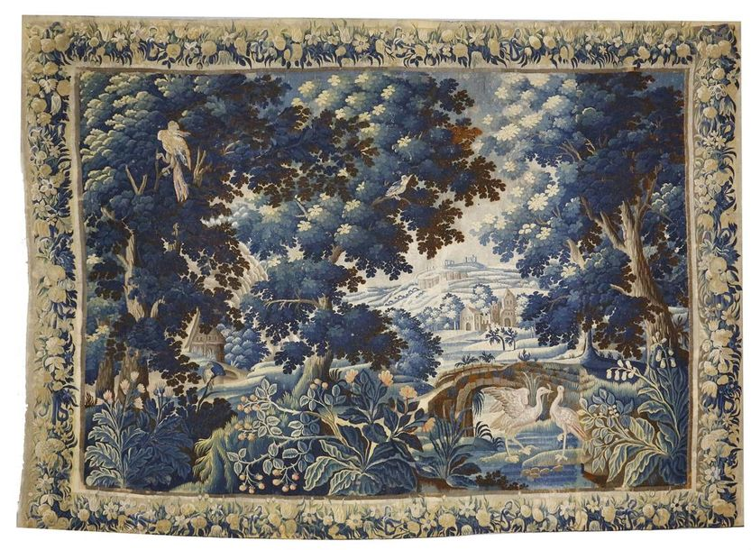 A 17th century Flemish verdure tapestry, woven with various birds, including a pair…