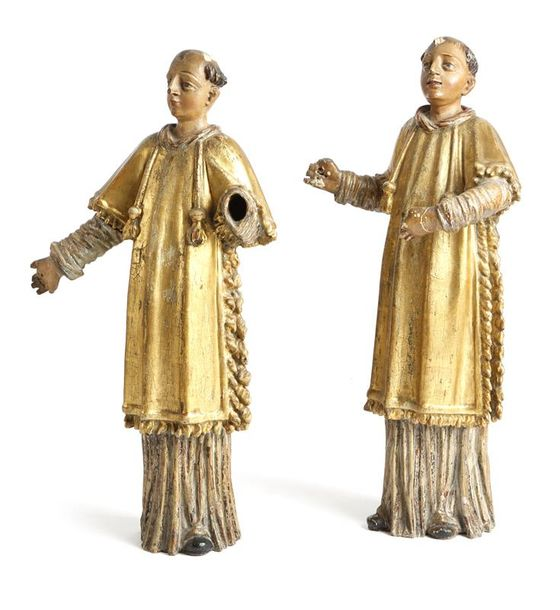 A pair of South German carved limewood and polychrome painted figures of friars,…
