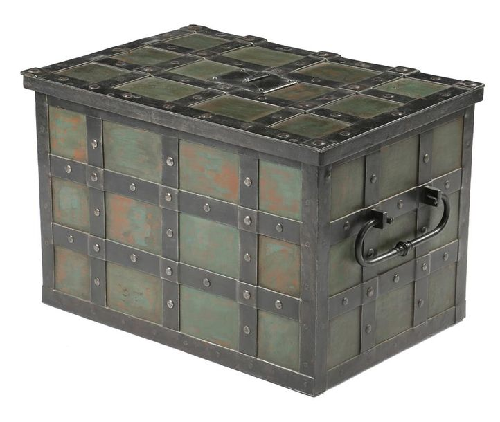 An iron 'Armada' chest in 17th century style, with strap and rivet decoration and…
