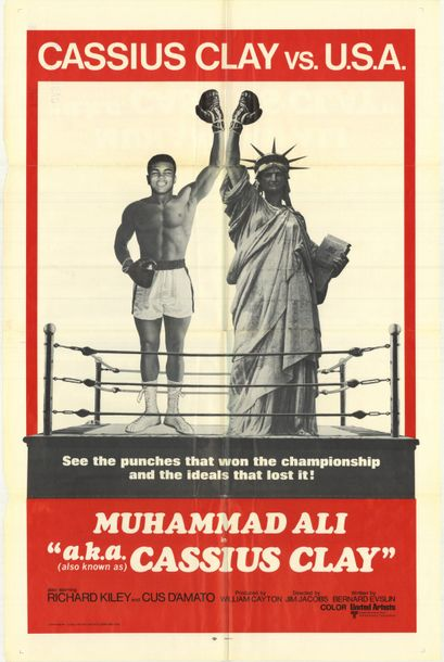 CASSIUS CLAY VS USA Jim Jacobs. 1970. Non signée. 69 x 104 cm (1 sheet). Affiche…