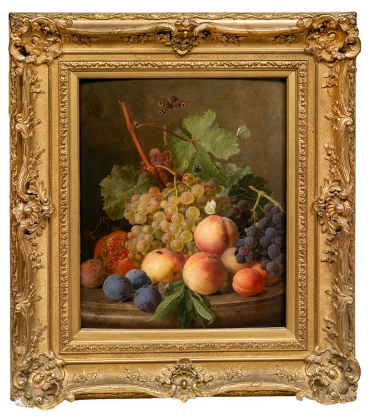 Jan Frans van DAEL (Anvers 1764 Paris 1840) Prunes, pêches, raisins et papillons…