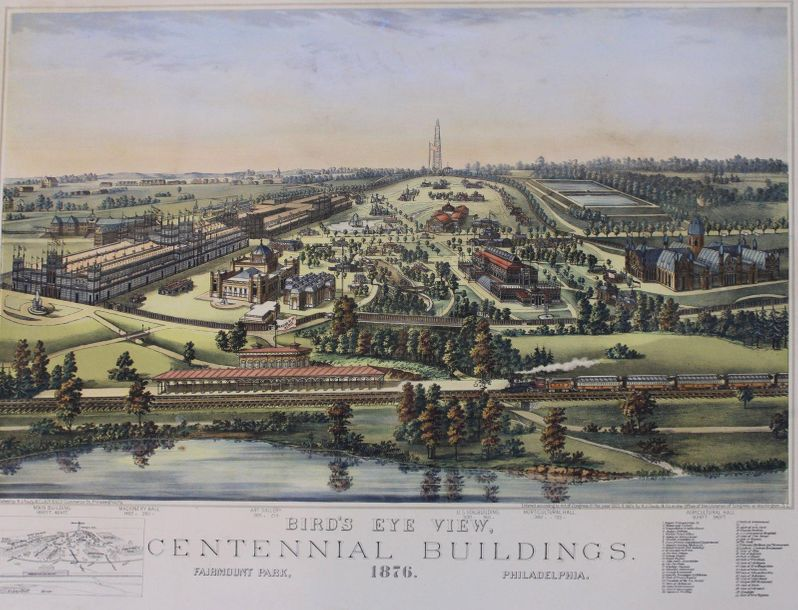"ETATS-UNIS - PHILADELPHIE. ""Birds Eye View. CENTENNIAL BUILDINGS"". 1876. Lithographie…"