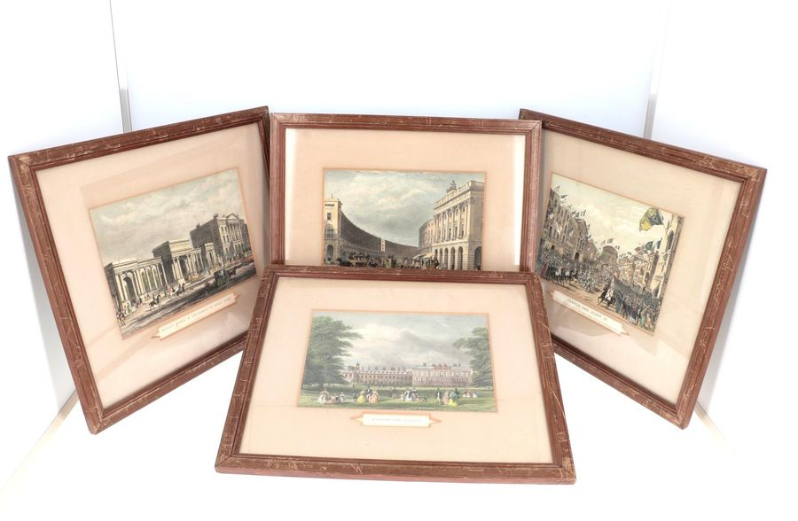 "Lot de quatre gravures anciennes. ""Temple Bar Fleet St"", ""Apsley House…"" ""Kensington…"