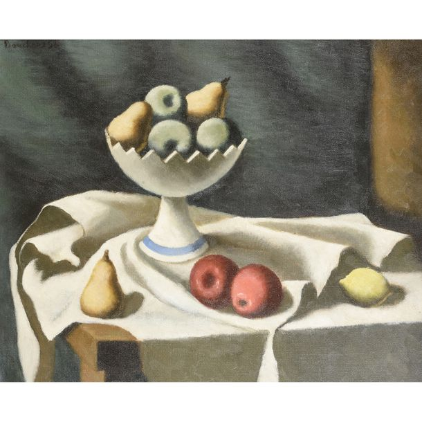 PIERRE BOUCHERLE (1894-1988) NATURE MORTE À LA COUPE DE FRUITS STILL LIFE WITH A…
