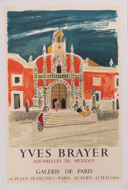 BRAYER Yves. Aquarelles du Mexique. Galerie de Paris. 28 Avril - 23 Mai 1964. Affiche…