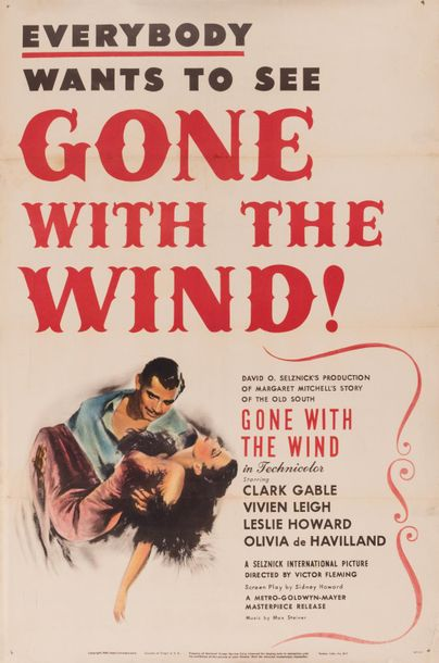 """Everybody wants to see """"gone with the wind"""". Un film de Victor Fleming. 1939. Affiche…"""