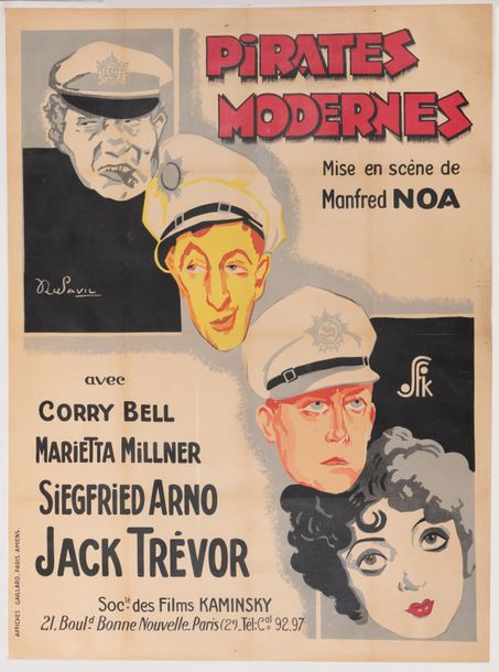 Pirates modernes. Un film de Manfred NOA. 1928. Affiche lithographique. Imp. Affiches…