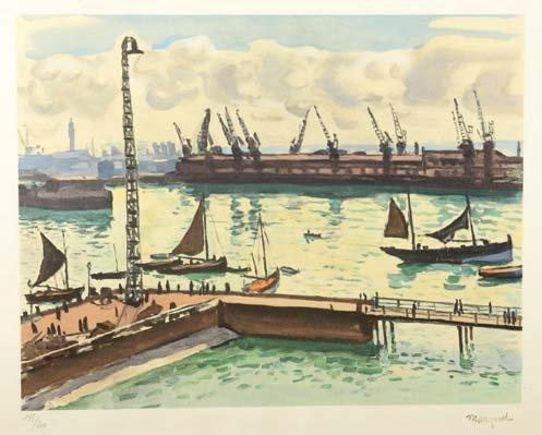 Albert MARQUET (Bordeaux, 1875 Paris, 1947) Le port de commerce Lithographie en …