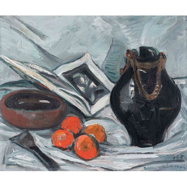 Irma Stern, (1894-1966, Afrique du Sud), African and Chinese ceramics with oranges…