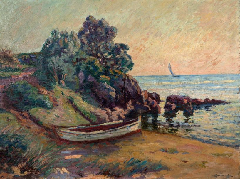 ARMAND GUILLAUMIN (1841-1927) Barques à Agay, vers 1900 Oil on canvas, signed lower…