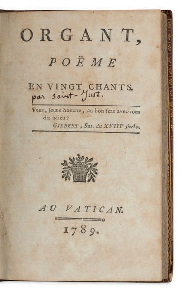 [LOUIS ANTOINE LÉON SAINT JUST ] (1767 1794) Organt, poëme en vingt chants. Au V…