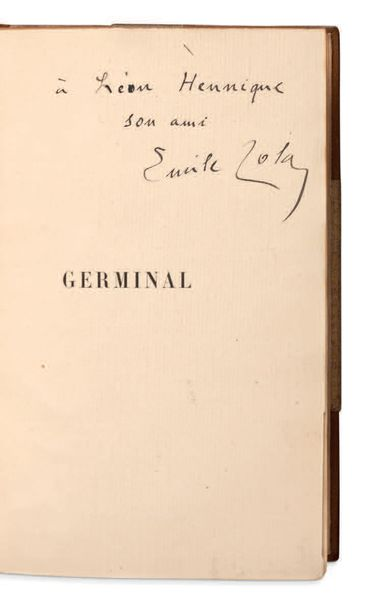 EMILE ZOLA (1840 1902) Germinal. P. Charpentier 1885. In 12 (184x115 mm); demi m…