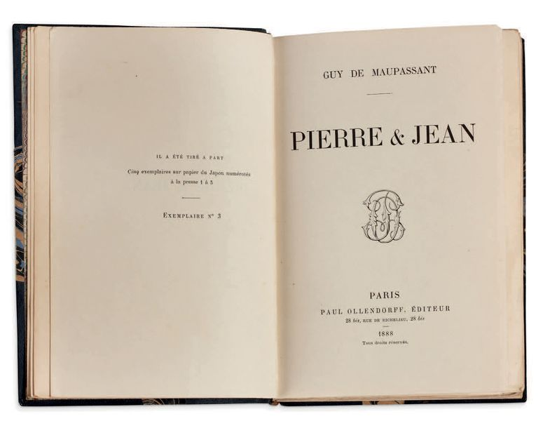 GUY DE MAUPASSANT Pierre et Jean. Paris, Paul Ollendroff, 1888. In 12 (186x126),…