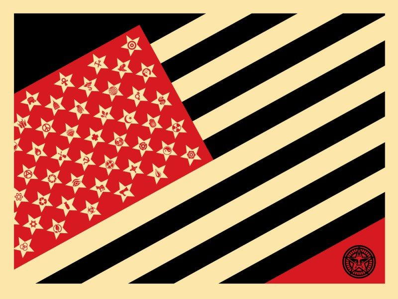 SHEPARD FAIREY (né en 1970) SHEPARD FAIREY (né en 1970)  Mayday Flag Small, 2018…